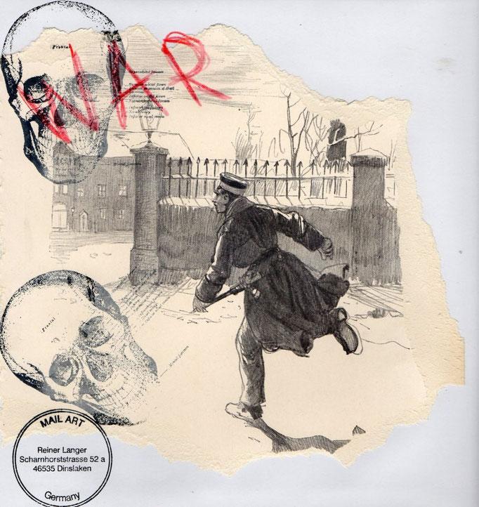 """AUSGEHENDE MAIL _ ART PROJEKT """" WAR """" by Reiner Langer an Silvano Pertone, Italien"""