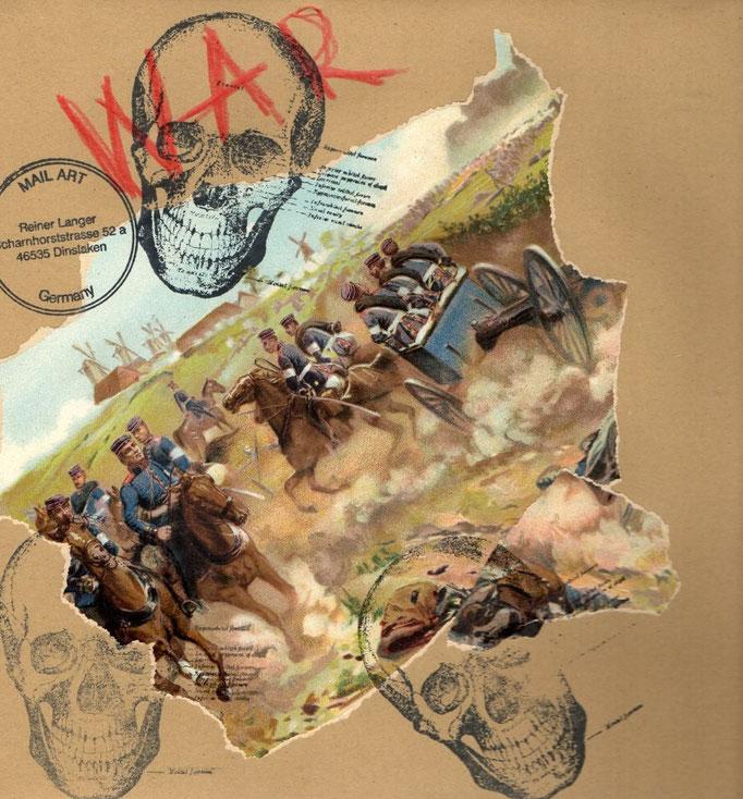 """AUSGEHENDE MAIL _ ART PROJEKT """" WAR """" by Reiner Langer  an Bruno Gheerbrandt, Belgien"""