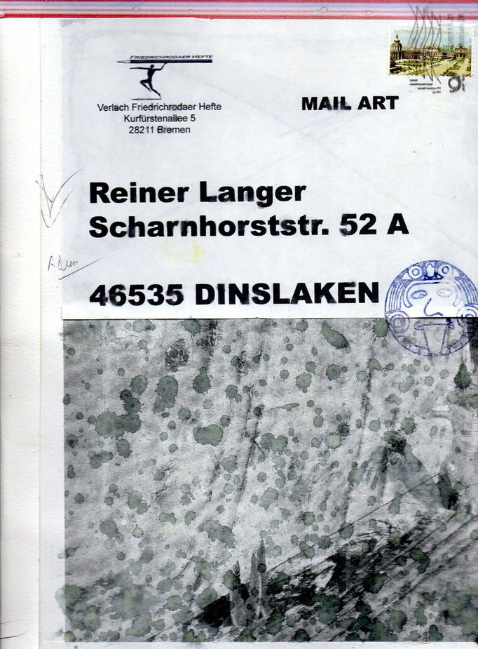 "EINGEHENDE MAIL ART PROJEKT "" WAR ""  Copyright Peter Müller"