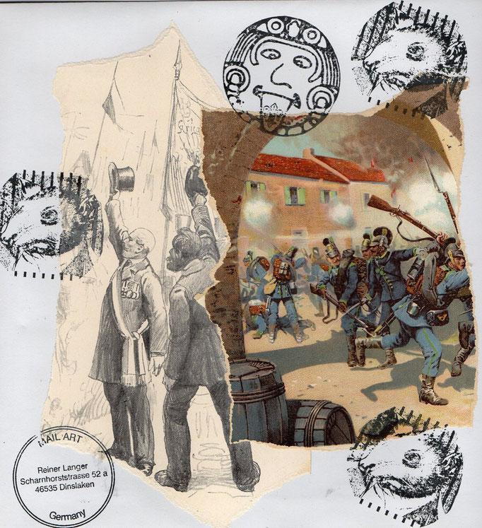 """Ausgehende MAIL - ART PROJEKT AGAINST """" WAR """" by Reiner Langer   an Lionel Verney , DEUTSCHLAND"""