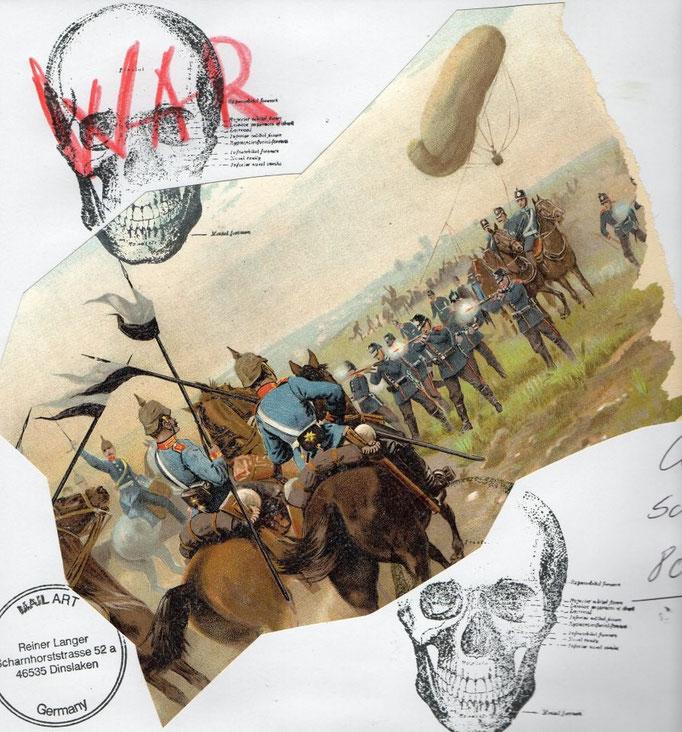 """AUSGAUSGEHENDE MAIL - ART PROJEKT """" WAR""""  by Reiner Langer  an/to Claudia Schramm, Deutschland"""