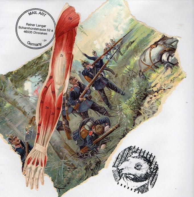 """Ausgehende MAIL - ART Projekt """" WAR """" by Reiner Langer  an Heike Sackmann, Deutschland"""