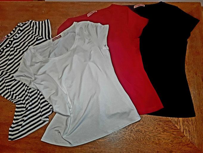 Rockamoon Damen T-Shirts geringelt, rot, weiß, schwarz