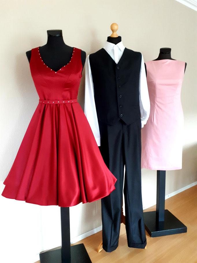 Cocktailkleid pink, Herrenhose, Herrenweste, Etuikleid rosa