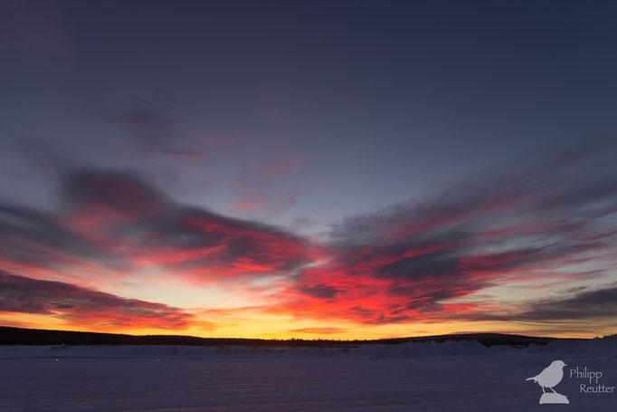 Sonnenuntergang über Kiruna / Schweden