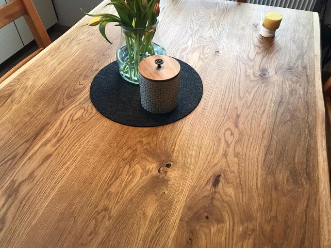 Wildeiche Tischplatte
