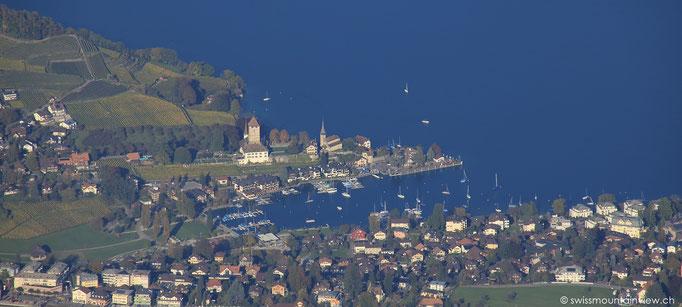 Der Hafen von Spiez mit Schloss und Kirche.