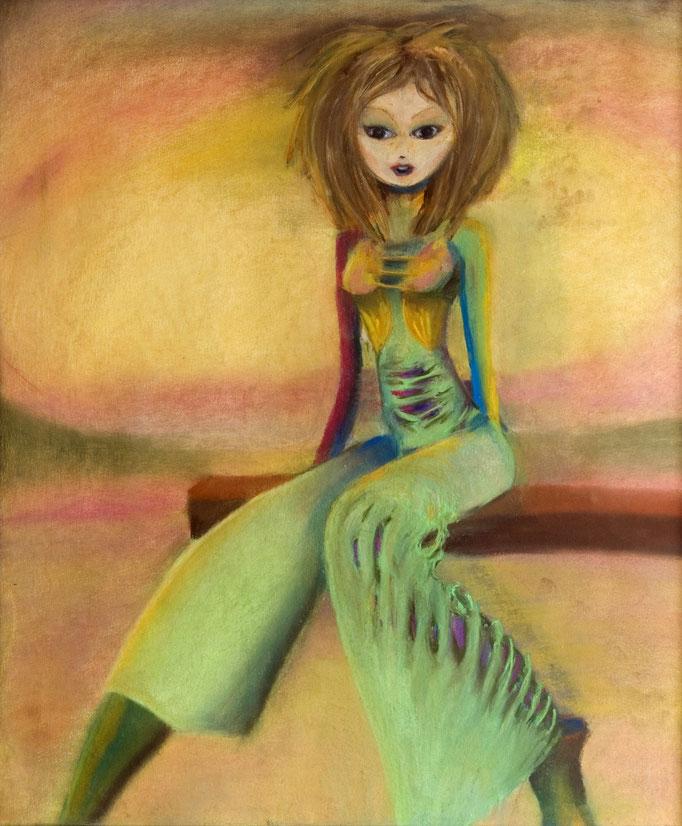 Girl, pastel op papier, ca 2004, verkocht