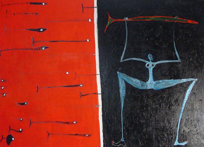 La Pescadora - Tengo un pez, acrilico s/lienzo, 81x116 cm, 2002