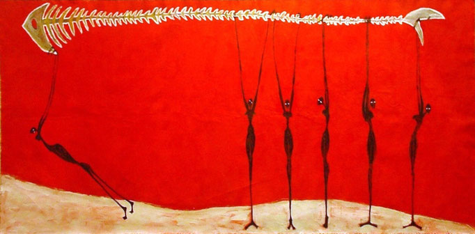 Las Pescadoras - Exceptional Transport, acrilico s/lienzo, 110x200 cm, 2002