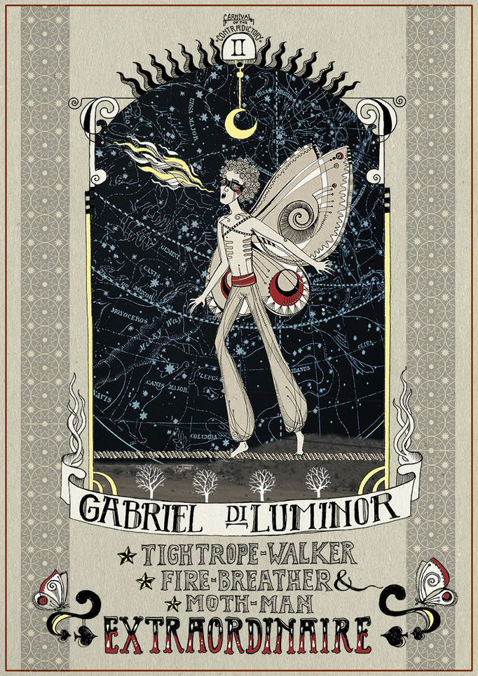 """Gabriel diLuminor"" (From the ""Carnival of the Contradictory"" series), fineliner & digital editing, 2013"