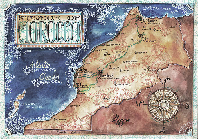 Map of Morocco - watercolours & fineliner, 2015