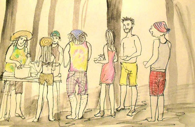 """Rainbow Gathering Breakfast Line"" (Hawaii), coloured pencils & fineliner, 2014"