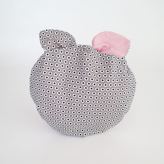 Poche à lingerie ronde Hexagones N&B