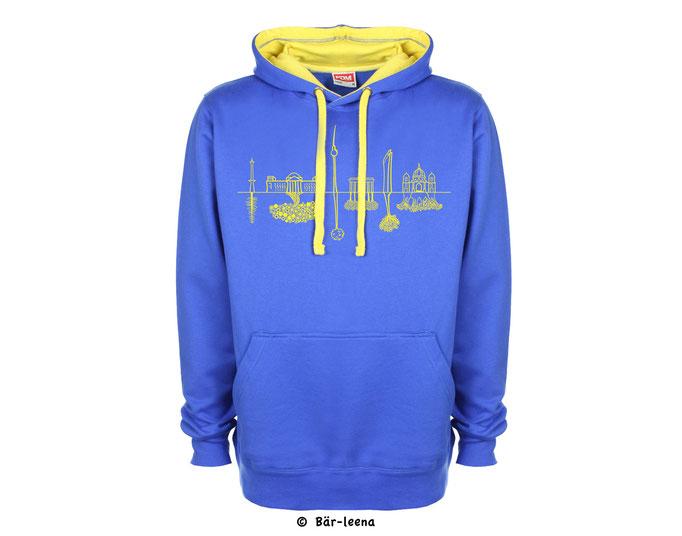 Berlin Skyline in Blau / Gelb  -  Kontrast Hoodie