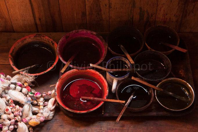 Birmanie - Lac Inle - Tissage de fibres de Lotus