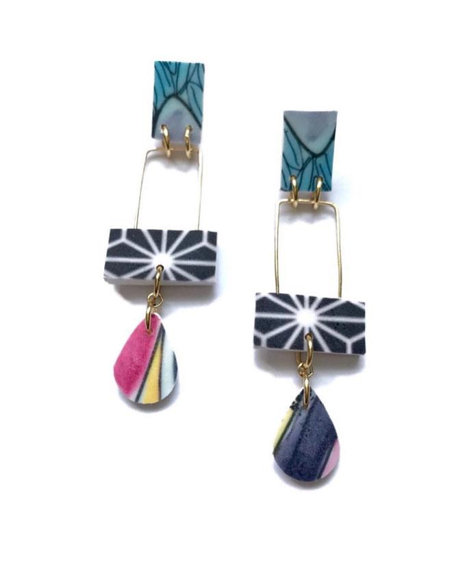 Topography Earrings (Afar Series) 2018 made for John  Michael Kohler Art Center One of a Kind Show