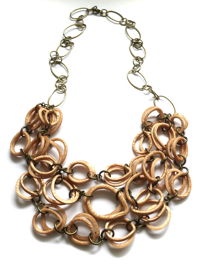 Wood Link Cascade Necklace 2016