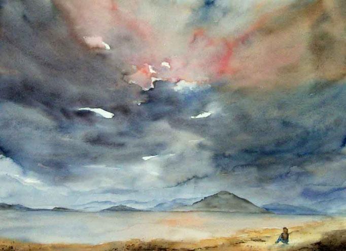 Einsamkeit 2,40x50cm,(c)D.Saul 2011,Strand-Himmel-Wolken