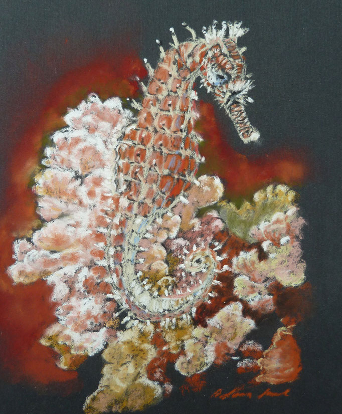 """""""Ride across the corals"""",Pastell, 9´x12` ,(C)D.Saul 2016"""