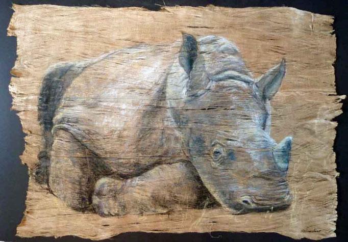 Kleines Schwergewicht, Breitmaulnashorn, 70x100cm Pastell auf Baumrinde,(c)D.Saul,verkauft