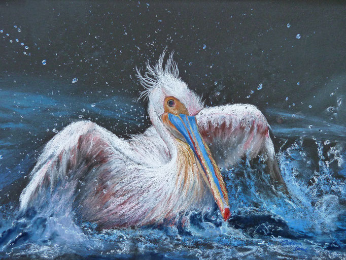 """Splash!"" Pastell 26x38cm,(C)D.Saul 2015, 1. Platz GET DUSTY, Pastelguild of Europe 4/2015"