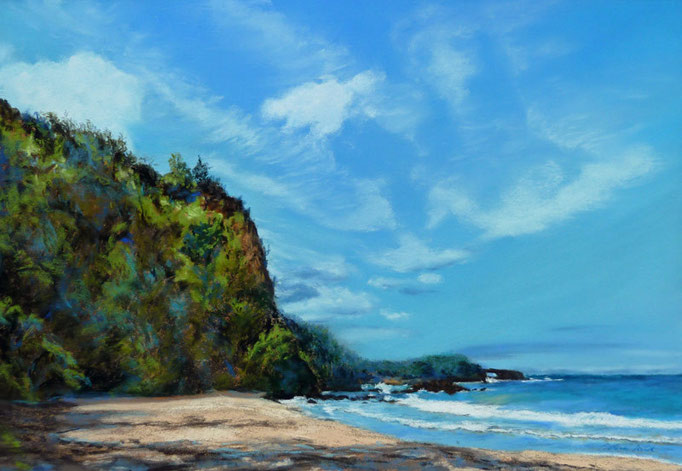 """Magic of Kaihalulu Bay"" Maui,Hawaii; Pastell 38,5x48,5cm,(C)D.Saul 2014"