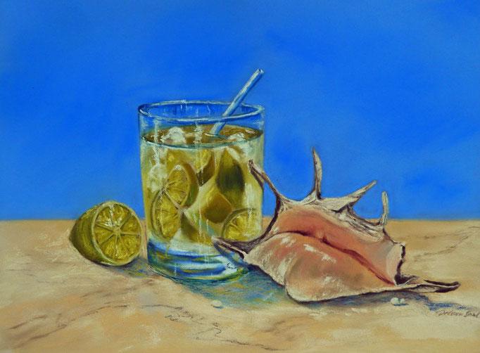 """""""Caipirinha-time"""", Pastell, 29x39xm.(c) D.Saul 2014"""