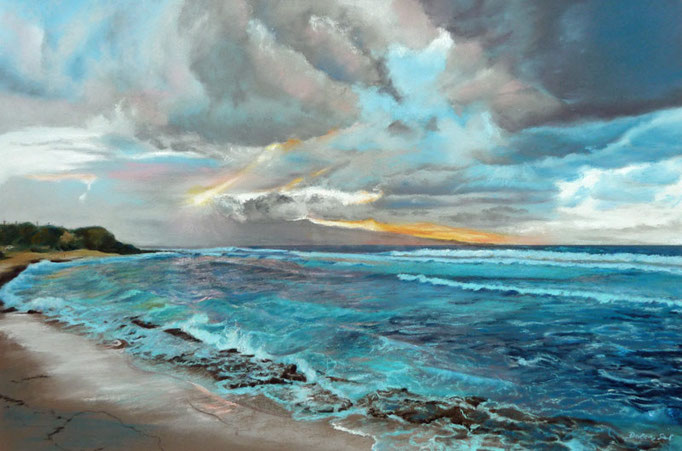 """Evening Surf""Pastell, 40x60cm, (C)D.Saul 2015"