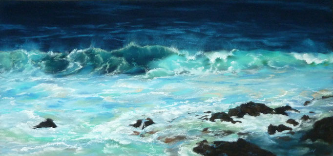 """Hookipa Beach at night"" Pastell 23x49cm,(C) D.Saul 2014"