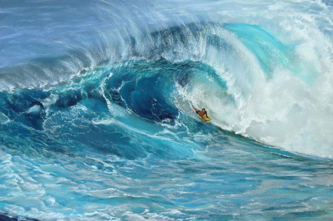 """Breath of Pe áhi, Jaws""; Pastell 39x49cm,gerahmt 60x80cm,(C)D.Saul 2015,Ref. M. Neal"