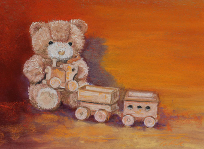 """Teddy´s train"" Pastell 22x29cm, (C) D.Saul 2016"