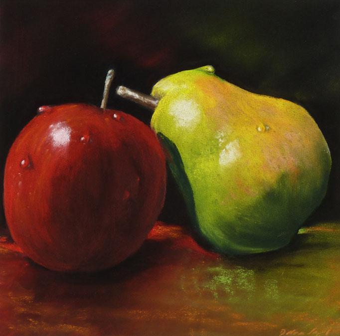 """Pear loves apple"",Pastell 23,5x23,5cm, (c)D.Saul 2014"