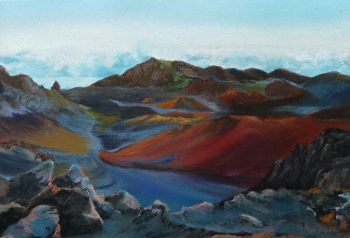 """House of the rising sun-Haleakala"", Pastell, 25x38cm, Mi Teintes Touch, Sennelier, (C) D.Saul 2016"
