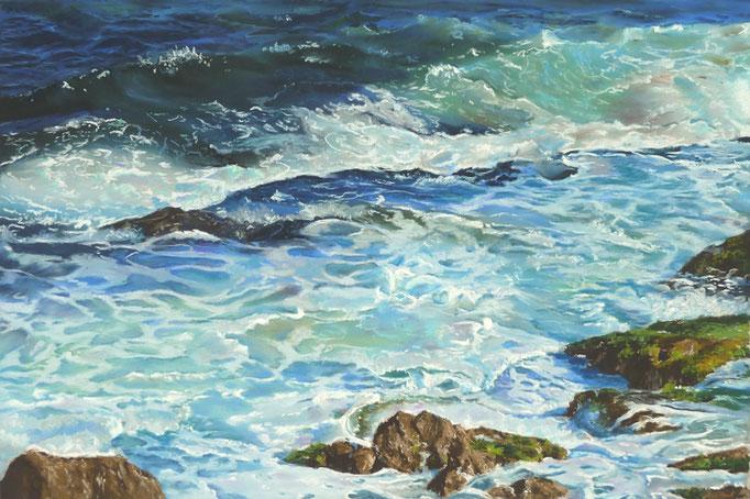"""""""Turquoise surf"""" Pastell, 30x40,5cm,12´x18´, 50x70 gerahmt,(C) D.Saul 2016"""
