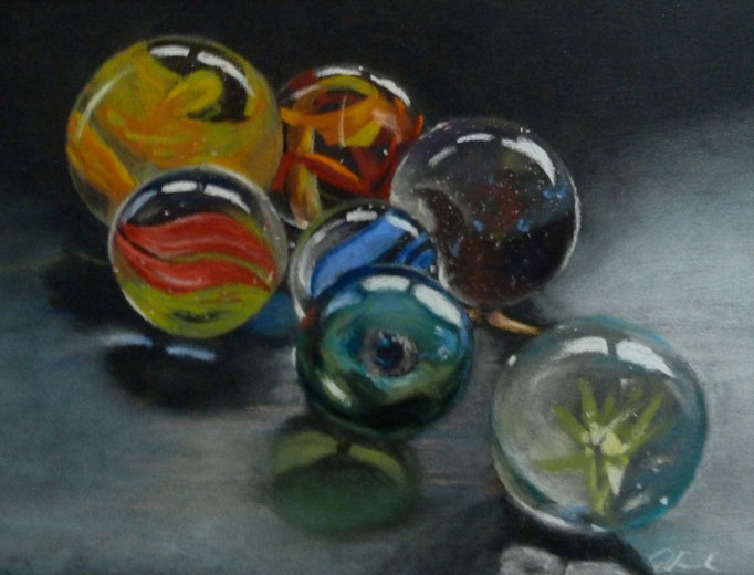 """New marbles"" Pastell 14,5x19cm, (C)D.Saul 2016"