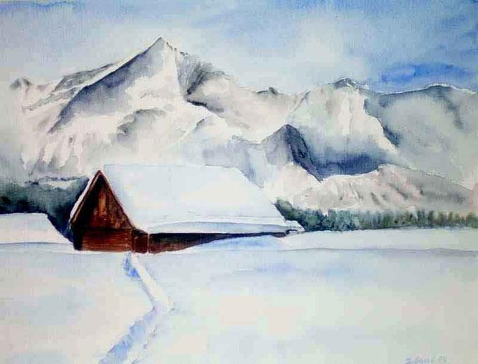 Winterzeit im Wallis, 40x50cm,(c)D.Saul 2011,Winter-Wallis