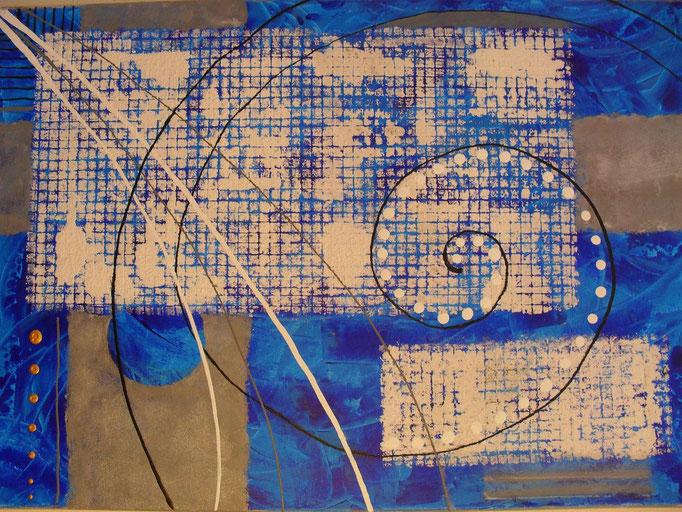 bleu - vue face. tableau abstrait abstraction