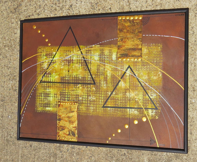 pyramides, vue côté2, tableau abstrait.abstraction