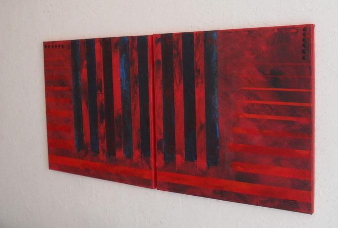 enfermement, vue côté2. tableau. abstrait. abstraction