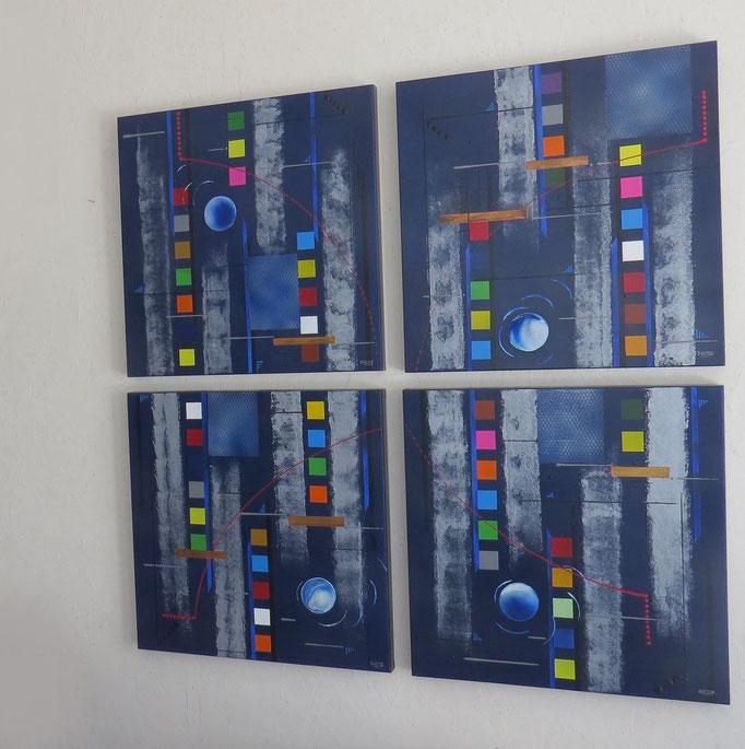 bleu d'argent vue côté2 - daluz galego tableau abstrait abstraction