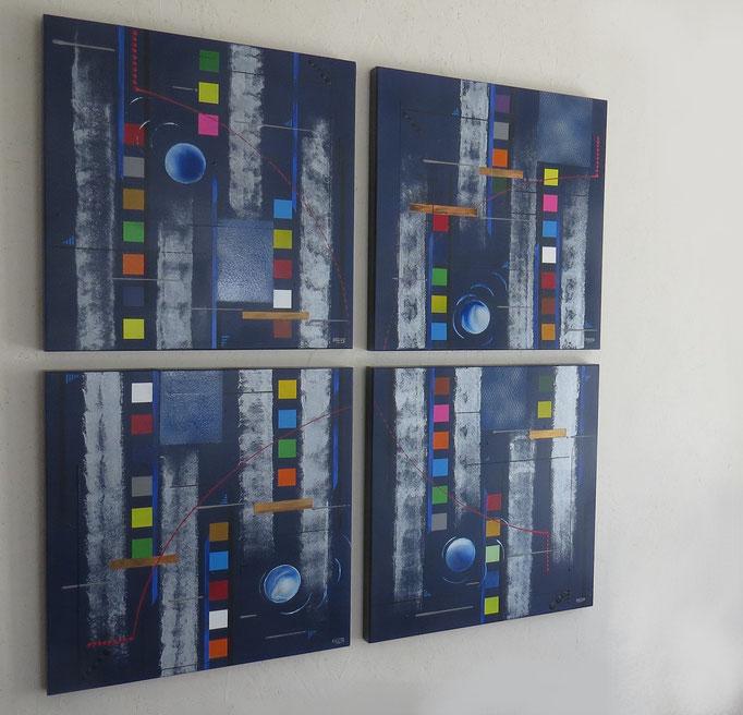 bleu d'argent vue côté1 - daluz galego tableau abstrait abstraction