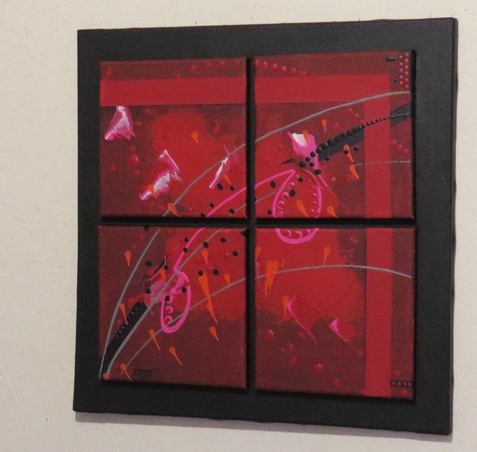 carré d'arcs.vue côté2. tableau. abstrait. abstraction