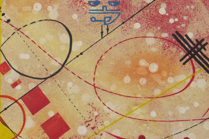 vers le bonheur. zoom 3. tableau. abstrait. abstraction