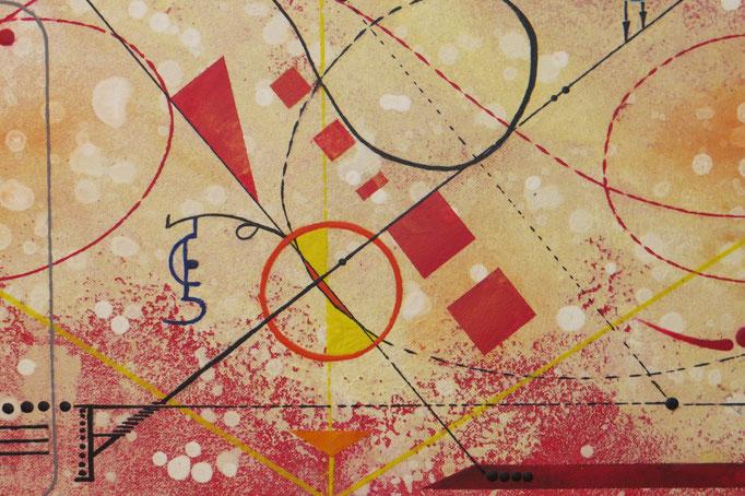 vers le bonheur. zoom 6. tableau. abstrait. abstraction