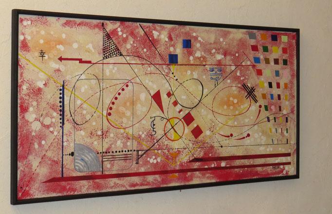 vers le bonheur. vue côté 1. tableau. abstrait. abstraction