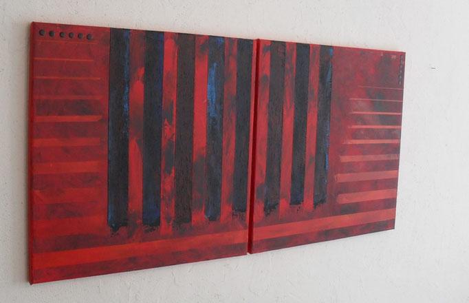 enfermement, vue côté1. tableau. abstrait. abstraction