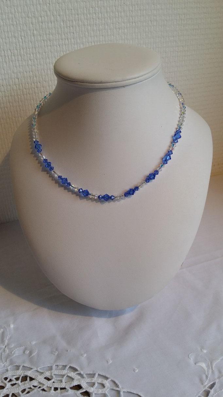 Collier en  Cristal Swarovski bleu et blanc