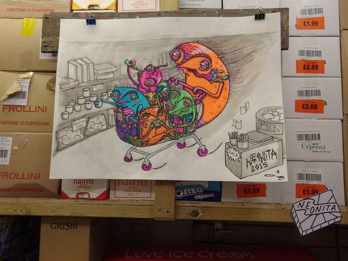 Supermarket, Ink on Paper