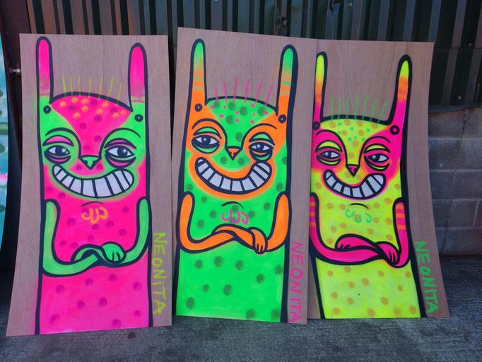 Paintings for Pootopia, Glastonbury, 2014